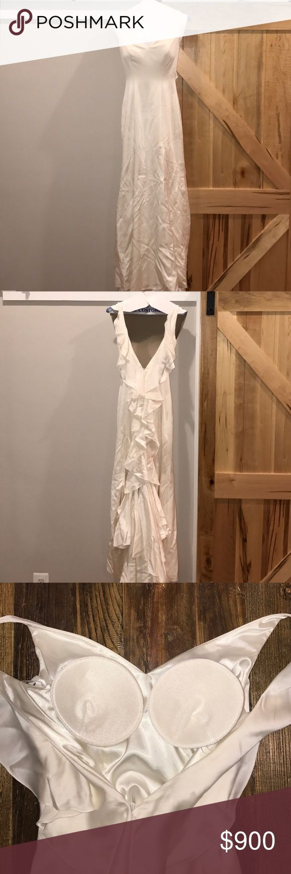 priscilla of boston wedding gown 100% silk, discontinued vineyard collection line, cascading open ruffle back, train with bustle, sewn-in cups (easily to remove if desired), off-white, size 4 on rack but tailored to a 0/2. worn once. priscilla of boston Dresses Wedding