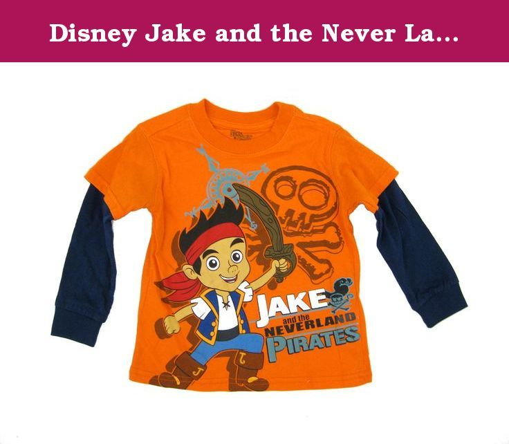 Disney Jake and the Never Land Pirates Layered T-shirt 2t-4t (3T). Your little pirate will love this adorable Disney Jake and the Never Land Pirates long sleeve layered cotton t-shirt. Disney Jake the Pirate shirt features a colorful image of Jake ready to lead the pirates on the front, with layered navy blue long sleeves for the cooler days. The perfect top for any Disney Jake the Pirate fan!.