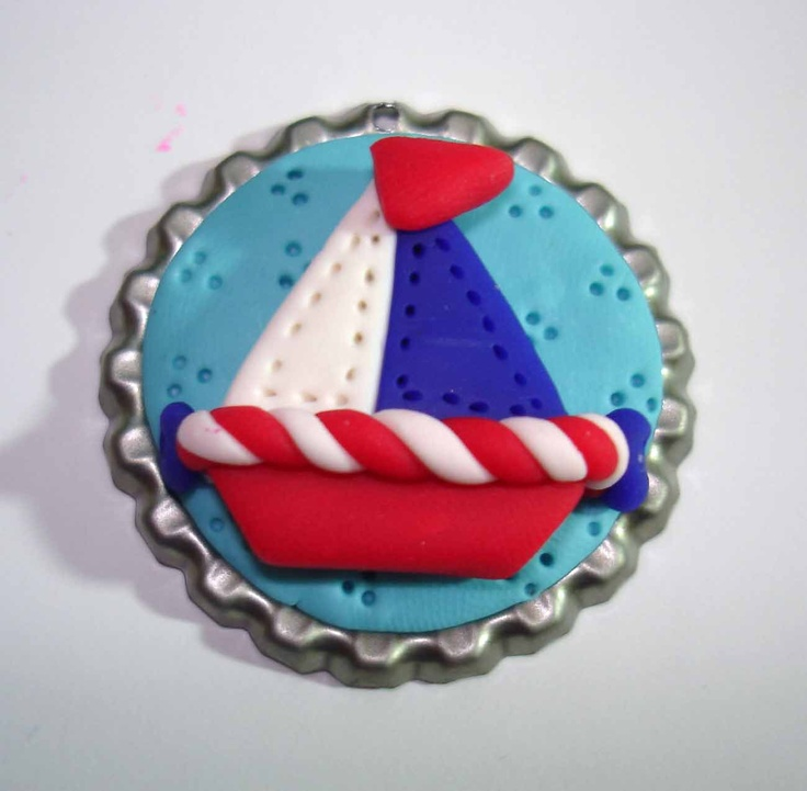 *POLYMER CLAY ~ Sailboat Polymer Clay Bottle Cap Bead, Scrapbooking, Bow Center, Pendant, Cupcake topper, Magnet.