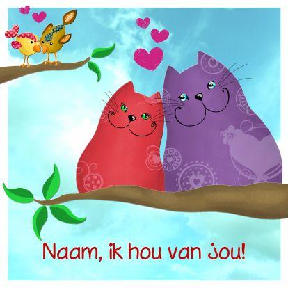 Valentine's day greetingcard http://www.kaartje2go.nl/valentijnskaarten/valentijnskaart-katten-en-vogels