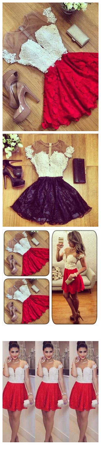 CHARMING RED HOMECOMING DRESS SCOOP SHORT PROM DRSESS WITH LACE,Hot Sale Homecoming Dress With Lace