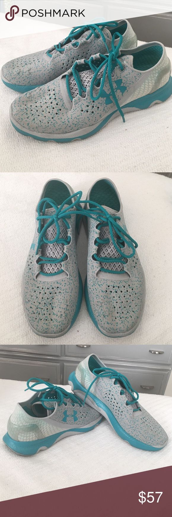 Women's Under Armour Tennis Shoes Grey/Teal Under Armour Women's tennis shoes worn once and super cute and cool color, grey/real. No stains/rips. Great Condition Under Armour Shoes Athletic Shoes