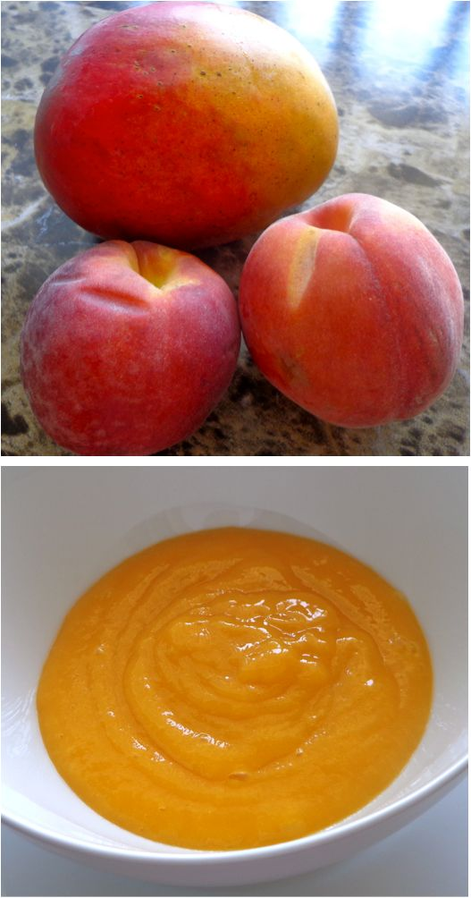 one ripe peach and one ripe mango, peeled and pureed - add water if necessary!