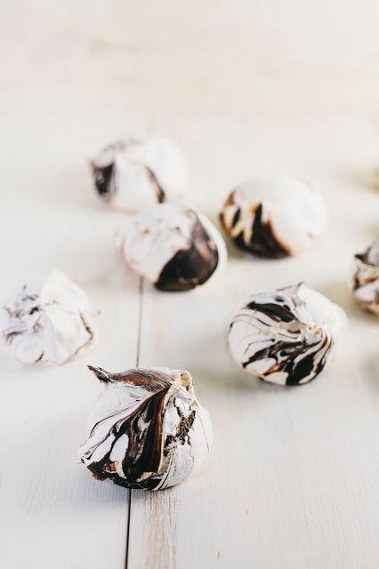 orange blossom meringues with a dark chocolate swirl