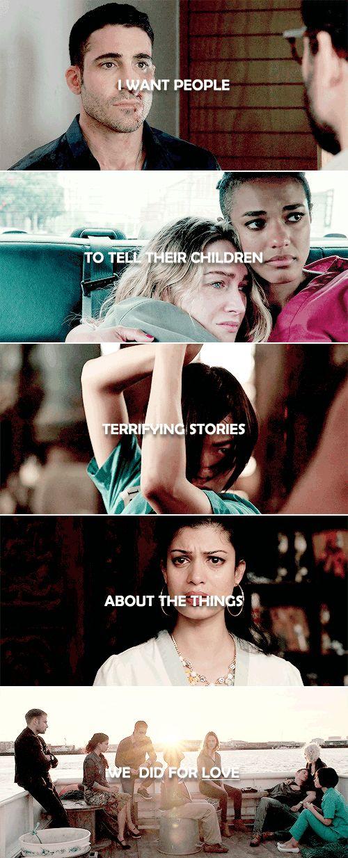 Quiero que las personas les cuenten a sus hijos historias aterradoras sobre las cosas que hicimos por amor. #Sense8