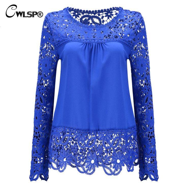 Women Chiffon Blouses Shirts  Long Sleeve Tops Lace Blouses Hollow out Crochet Blusas Femininas 2016 Fashion Plus size LY154