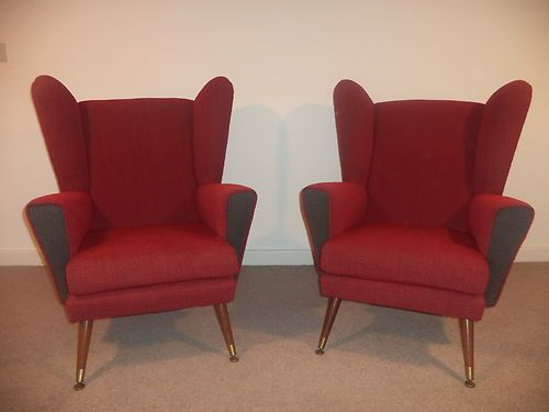 vintage funky retro pair armchairs wing back 1960s 1970s red retro chairs funky