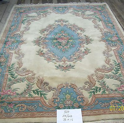 8 X11 Handknotted Thick Plush Wool Pile Chinese Aubusson Ivory Blue Area Rug