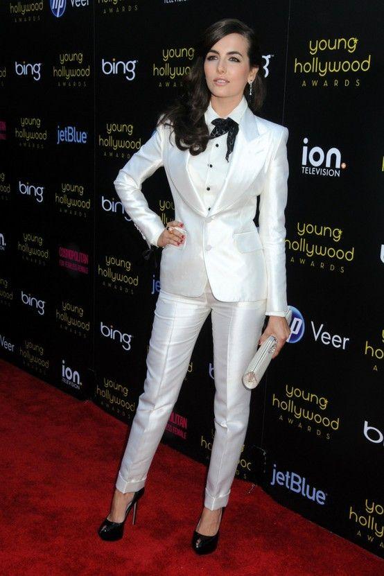 white tuxedo- woman in white tuxedo- classic tuxedo look- modern tuxedo- wedding party app blog