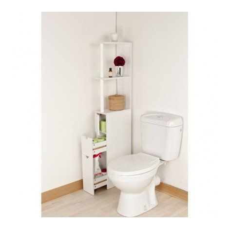 Meuble De Rangement Wc Toilettes Ou Salle De Bains Blanc Avec