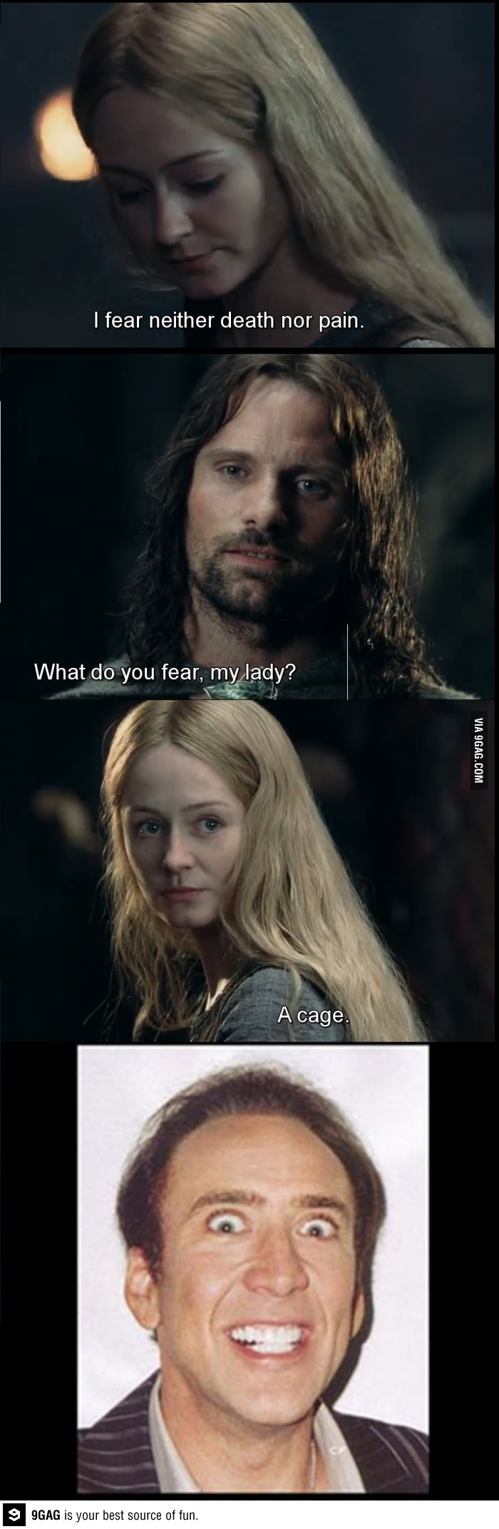 CAN'T BREATHE.  Especially funny since Nicholas Cage was Peter Jackson's original choice for Aragorn.