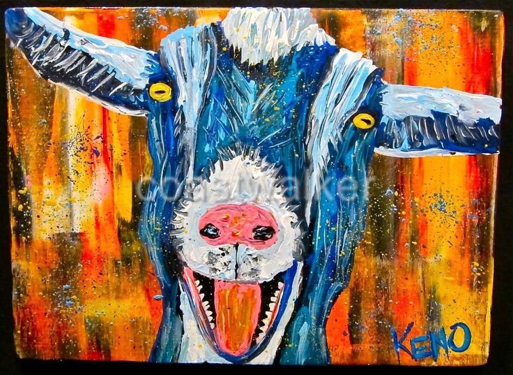 Blue Laughing Goat Painting Abstract Maine Folk Art ...