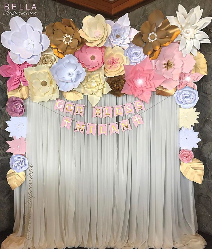 BELLA Impressions | IG @Bella_Impressions | Etsy Shop: https://www.etsy.com/shop/BellaImpressionsShop | Website: Bellasimpressions.com  Floral Photo Backdrop by @Bella_Impressions  Paper flower backdrop with chiffon draping and custom garland   • baptism • Christening • shower • wedding • event decor • for rent OC • I.E. • LA • Southern California.