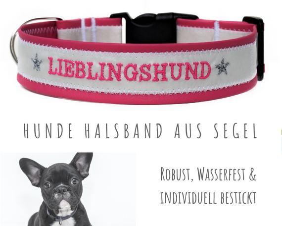 Pink Sail Dog Collar Favorite Dog Upcycling Embroidery Artificial Leather Neck Circumference 50 55 Cm 4 Cm Wide Hunde Kunstleder Leder
