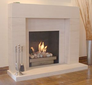 Wisdom Fireplaces, Manchester UK - Modern Contemporary Fireplace Limestone Basket Pebbles