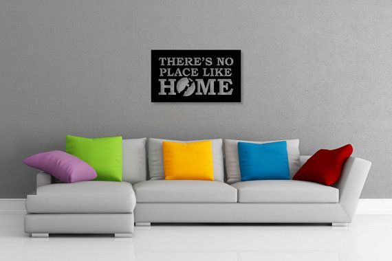 This listing is for one brand new CNC router cut Theres No Place Like Home wall art piece, made of 3mm thick aluminium composite material (ACM), created by Doozi.