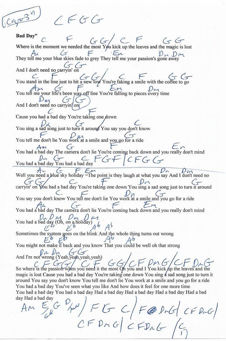 Bad Day Daniel Powter Guitar Chord Chart Capo 3rd Guitar Chords Guitar Chord Chart Guitar Songs