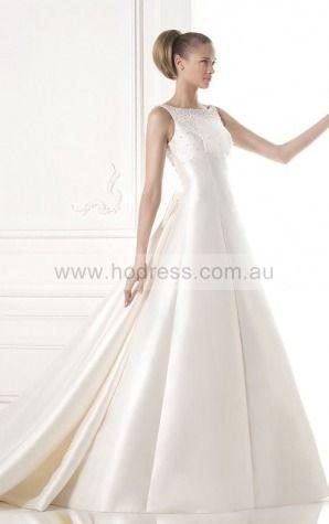 A-line Sleeveless Jewel Zipper Floor-length Wedding Dresses fcaf1069--Hodress