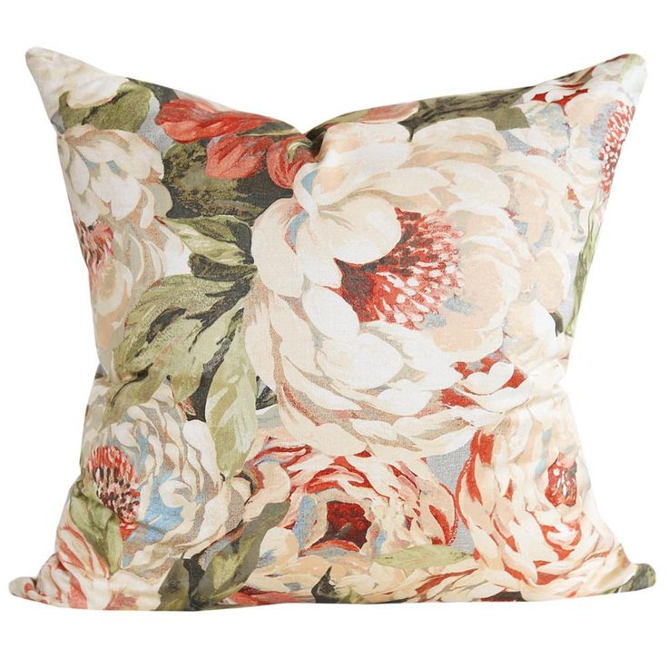"""A floral pillow with with dinner plate sized peonies and greenery in 22"""" x 22"""". Designed and Handmade in Canada by Tonic Living in small batches (in house!)"""