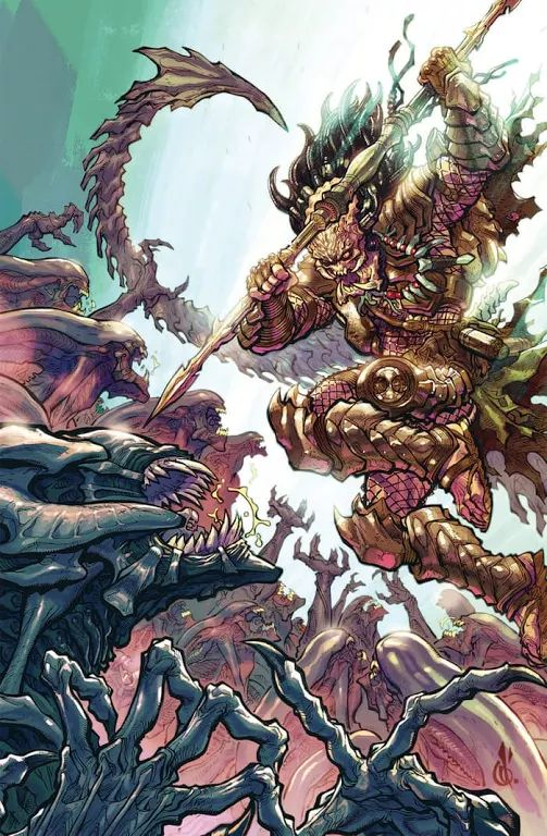 Photo: Alien vs. Predator: Life and Death #1 Dan Abnett (W), Brian Thies (A), Rain Beredo (C), David Palumbo (Cover), Sachin Teng (Variant cover), and Carlos D'Anda (30th Anniversary variant) On sale Dec 28 FC, 32 pages $3.99 Miniseries The Predators arrive on LV-223! The question is: are they here to finish the fight with the Colonial Marines, or will they join the marines in the battle against the Aliens? And who will Ahab—the Predator from the Fire and Stone story cycle—side with?
