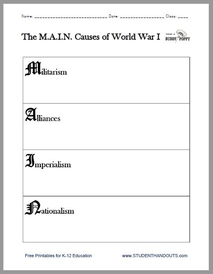 M A I N Causes Of World War I Worksheet