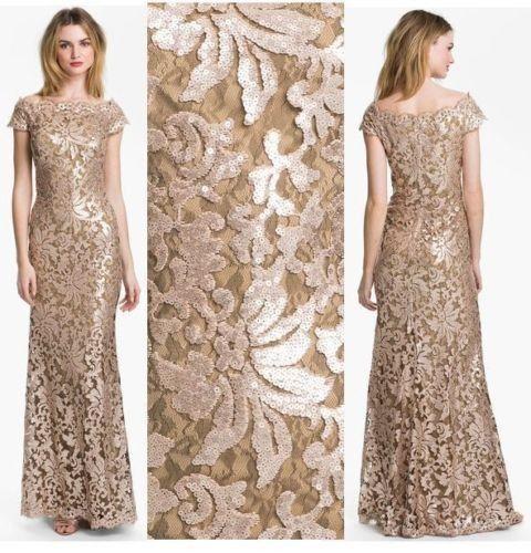 #tadashishoji #beautiful #beige #dress #lace #sequin