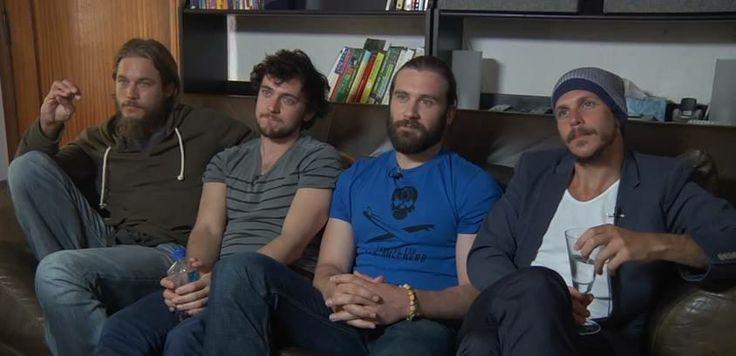 Travis Fimmel ( Ragnar Lodbrok ), George Blagden ( Athelstan ), Clive Standen ( Rollo Lodbrok  ) and Gustaf Skarsgård ( Floki )