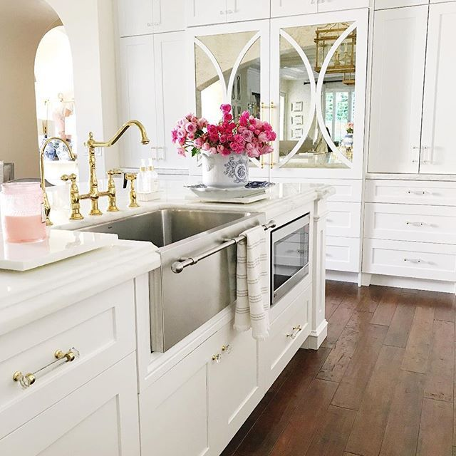 Happy Sunday!!!! Wishing you all a beautiful day! I'm sharing a picture of our kitchen to show you a few hidden gems. 1. Our dishwasher is behind the cabinet door next to the sink. You can buy dishwashers that are panel ready for cabinetry to hide them! 2. Our microwave is tucked out of site in the island. My kids love having it at a more accessible height. 3. The fridge is behind the mirrored doors. I wanted it to look like a piece of furniture rather than an appliance. You can get…