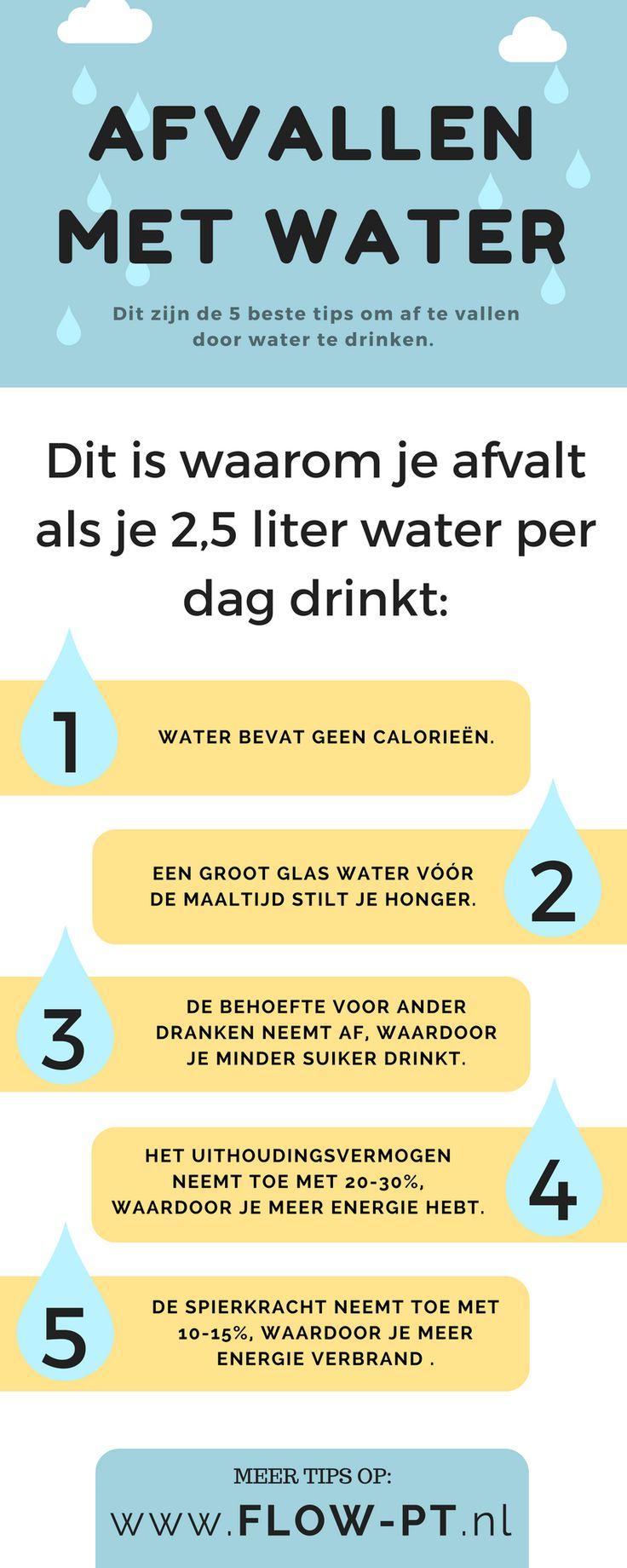 Door 2,5 liter water per dag te drinken val je na 2 weken 2 kilo af. Wil je meer eer gezondheid tips? Volg mij op Pinterest!