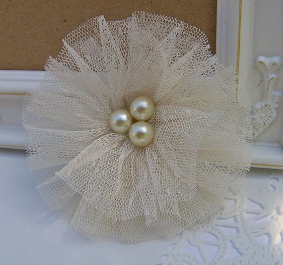 Tulle and Glass Pearl Shabby Chic Fabric Flower by curtseyboutique, $7.00
