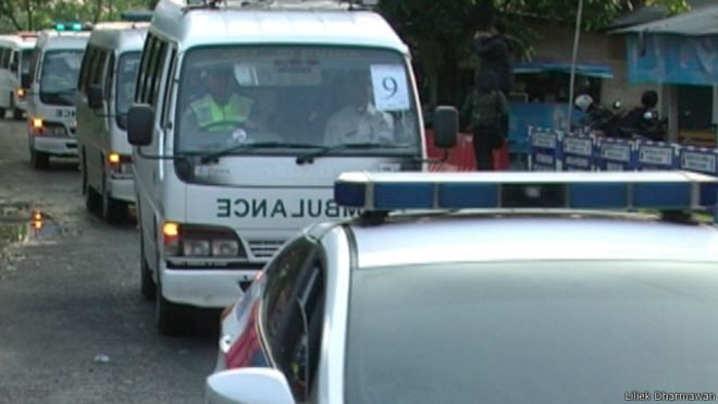 17 Ambulans dan 14 Peti Mati Diangkut ke Nusakambangan