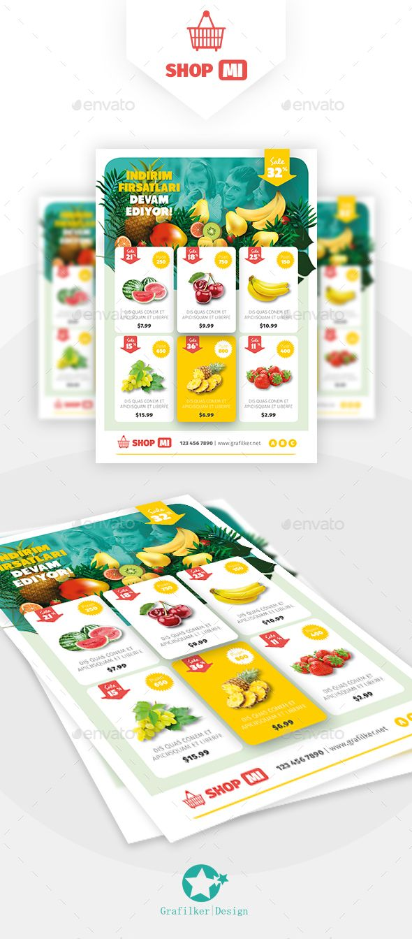 Supermarket Products Flyer Template PSD, InDesign INDD. Download here: https://graphicriver.net/item/supermarket-products-flyer-templates/17380982?ref=ksioks