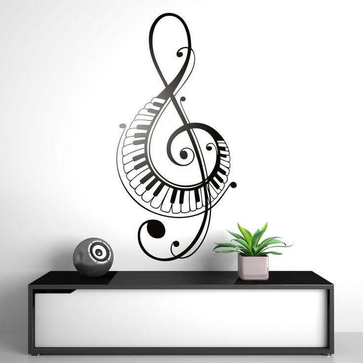Clave de sol teclas de piano - VINILOS DECORATIVOS #decoración #pared #vinilo #sol #clave #música #deco #TeleAdhesivo