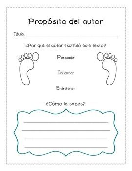 Proposito del autor - Author's Purpose (Spanish) Graphic O