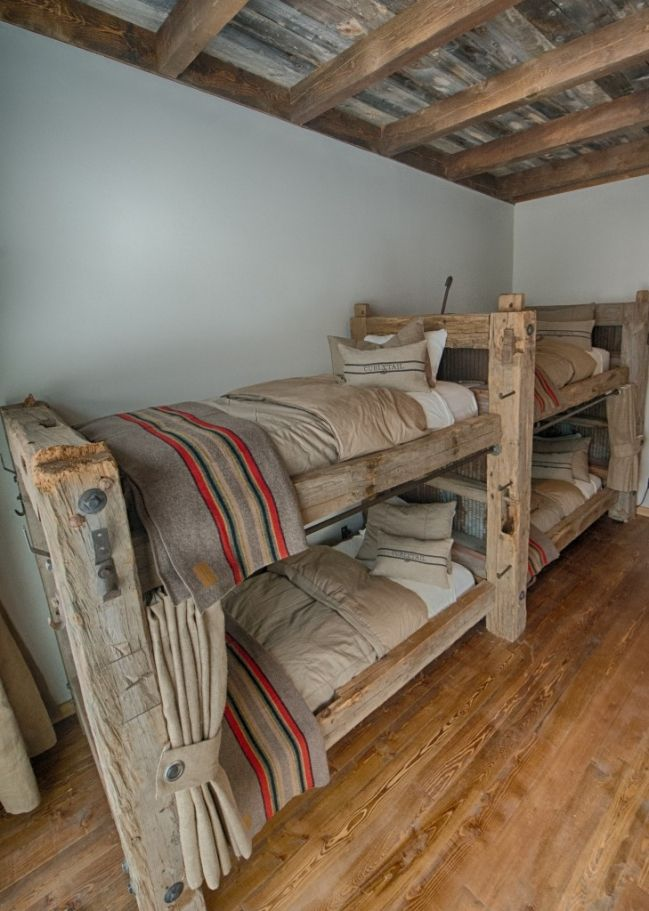 Bunk Beds with curtains for privacy barnwood ceilng,  #hunting lodge #barn wood #timber #bunk beds Work by Roger Taylor, Taylor Made Cabinets, Lakeville, MN
