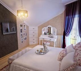 Роскошная спальня в мансарде