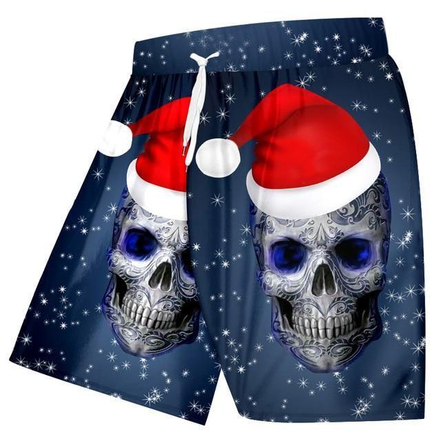 Snowflake Pattern 3D Printed Christmas Cap And Skull Men's Beach Shorts
