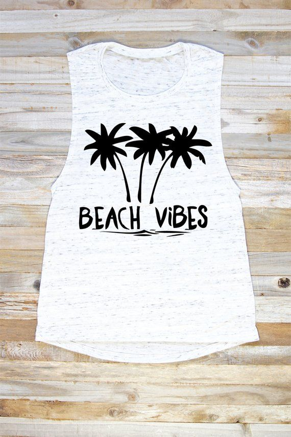 e2b357aa5d4e0 Beach Vibes Tank Top - Beach Vibes - Tank Tops With Sayings - Summer Tops - Beach  Tops - Tanks For S