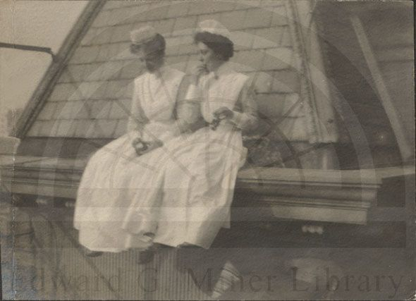 New York Hospital, female students on roof of the nursing school residence, c.1890's, Gilded Age NY.
