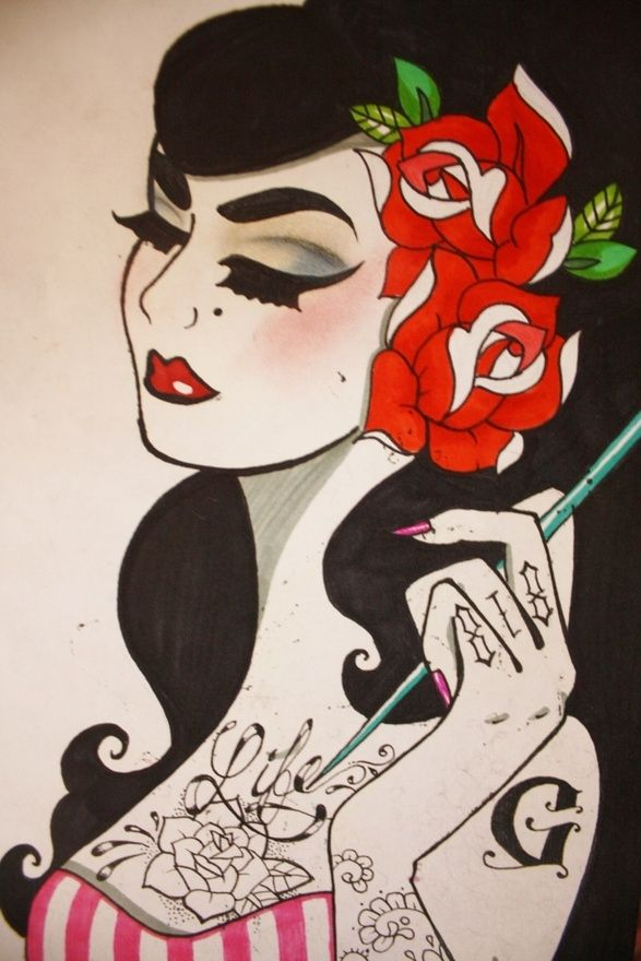 Rockabilly Artwork | Pinup Up Girl Art by Sabbie's Purses