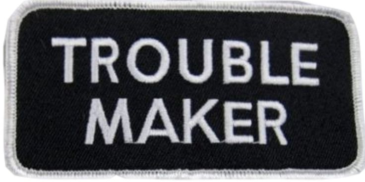 "Amazon.com: [Single Count] Custom and Unique (2"" x 4"" Inches) Uniform Identification Badge Trouble Maker Name Tag Iron On Embroidered Applique Patch {White & Black Colors}"