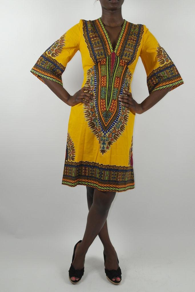 Sapelle // Kaftan Dress in Dashiki Print