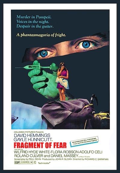 FRAGMENT OF FEAR 1970. 1960s youth-culture movie star David Hemmings plays Tim Brett, a recovering drug addict who has authored a successful book and gets caught up in a mind-bending murder case that's as trippy as the LSD he used to take. Awesome bongo-jazz soundtrack. On DVD.