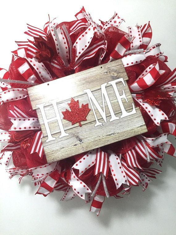 Canada Day Wreath Canada Day Decor Canadian Door Decor Canada