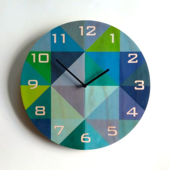 Objectify Grid Blue/Green With Numerals Plywood Wall Clock - Large
