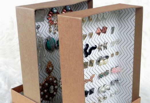 Shoeboxes can be upcycled into earring organizers.
