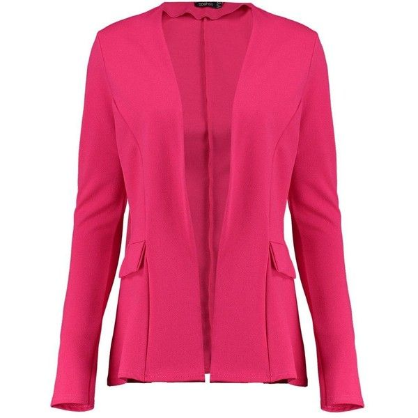 Martha Collarless Blazer (34 CAD) ❤ liked on Polyvore featuring outerwear, jackets, blazers, pink blazer, blazer jacket, pink blazer jacket, collarless blazers and collarless jackets