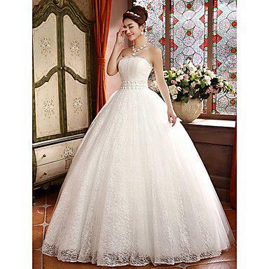 Ballkleid-trägerlose Spitze bodenlangen Hochzeitskleid - EUR € 109.08