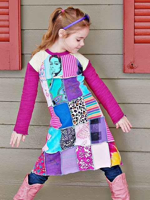 Inspiration - upcycled patchwork tee dress