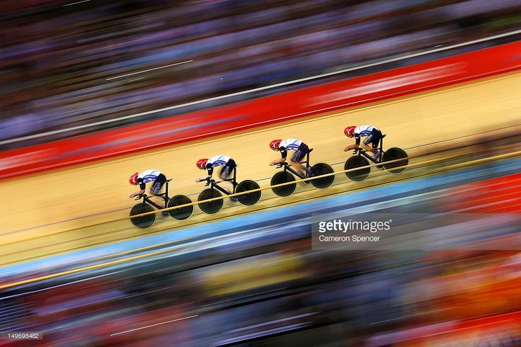Great Britain post a new world record time during Men's Team Pursuit Track Cycling Qualifying on Day 6 of the London 2012 Olympic Games at Velodrome on August 2, 2012 in London, England.